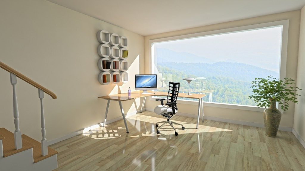 Bureau avec vue et un parquet en bois massif